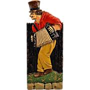 Vintage Folk Art Carved Whimsical Man Playing Accordion Match Stick Box
