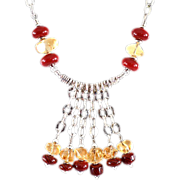 OOAK Davison Citrine & Blood Red Art Glass Necklace