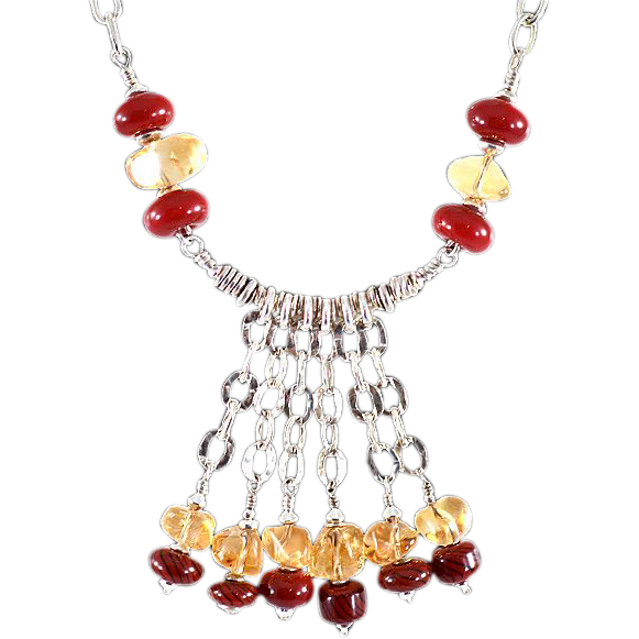 OOAK Davison Citrine & Blood Red Art Glass Necklace