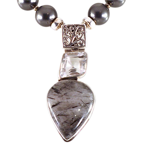OOAK Davison Necklace with Swarovski Glass Pearls, Quartz, Sterling & Bali Silver Components