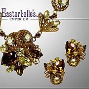 Vintage Brass and Rootbeer Rhinestone Parure