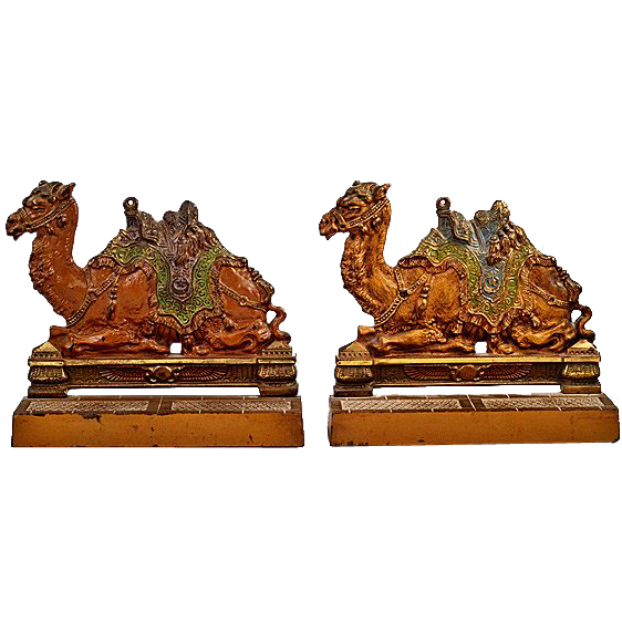 ca 1920's Judd Company Cast Iron Camel Bookends