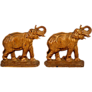Vintage Cast Iron Hubley Elephant Bookends