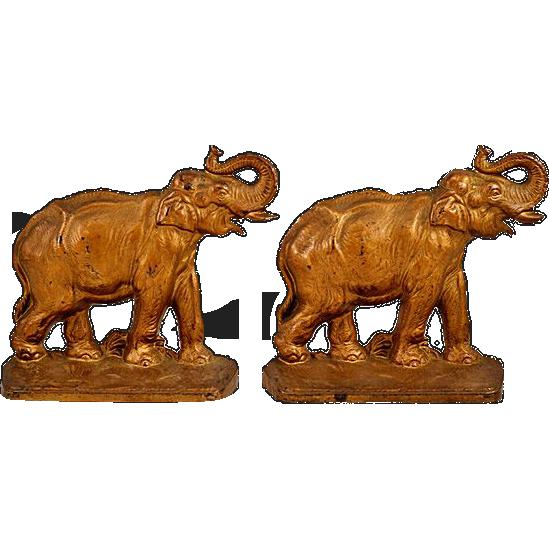 Vintage Cast Iron Hubley Elephant Bookends