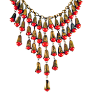 ca 1930's-40's Red Glass & Brass Bib Style Necklace Amazing