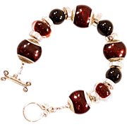 OOAK  Davison Blood Reds Art Glass & Onyx Bead Bracelet