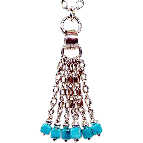 OOAK Davison Sterling Silver Tassel Chain Necklace with Sleeping Beauty Turquoise