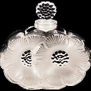 """Vintage Lalique Iconic """"Les Deux Fleurs"""" Perfume  Original Sticker and Etched"""