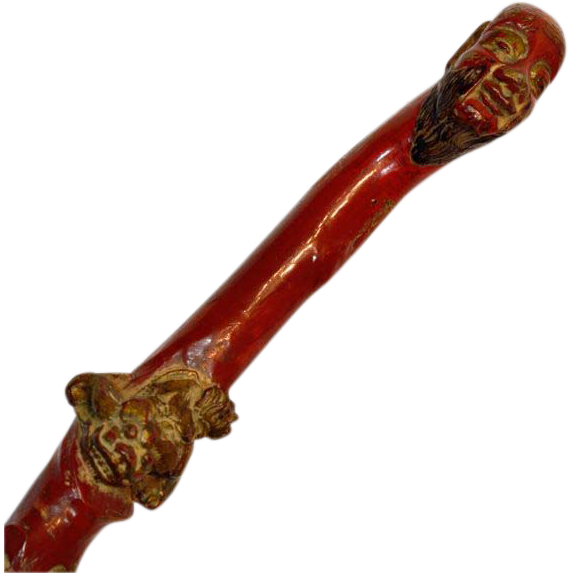 Antique Blood-Red Fu Dog Burl Wood Cane