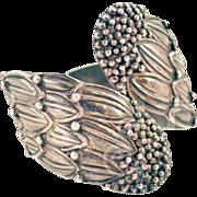 Vintage Iconic Hilario Lopez Taxco Sterling Silver Leaf Hinged Bracelet Stunning!