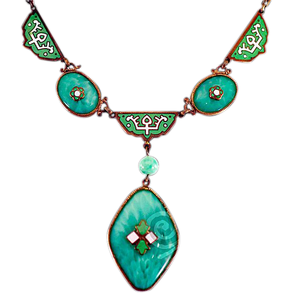 Fabulous Arts and Crafts Era Green Enameled and Czech Glass Necklace