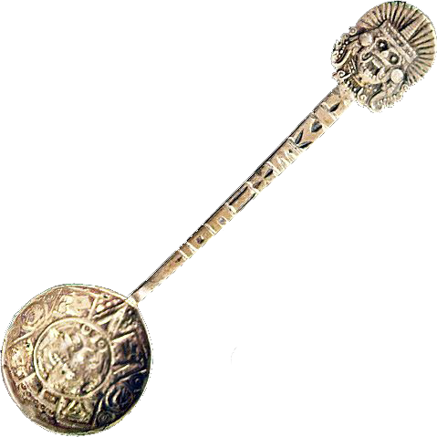 Vintage Mexican .825  Silver Aztec Themed Spoon