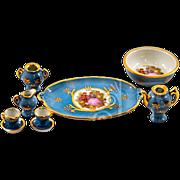 9-piece Limoges Fragonard Transferware Porcelain Miniature Tea Set
