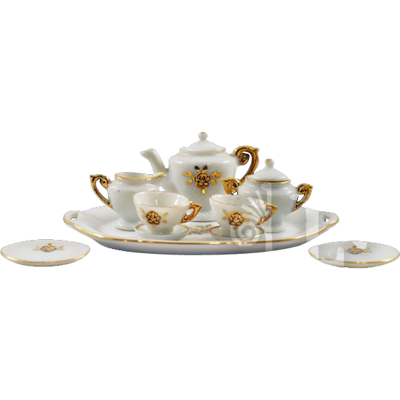 "Darling 10-Piece Vintage ""Transferware"" with Gold Gilding Miniature Tea Set"