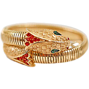 Fabulous Glam Vintage Crown Trifari Rhinestone Encrusted Snake Wrap Bracelet