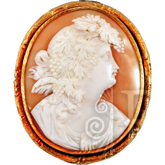 "Antique 14k Yellow GP Bacchante ""Helmet"" Shell Excellent Cameo"