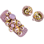 Classic Miriam Haskell Seed Bead Hinged Cuff Bracelet with Matching Earrings