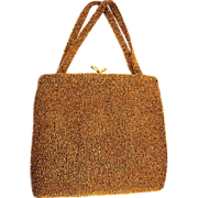 One Gorgeous Walborg Made In Belgium Bronze Fully Seed Beaded Handbag