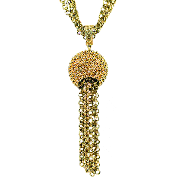 Corocraft Bold Statement Tasseled Pendant Necklace ca 1950