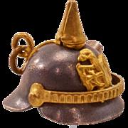 """Rare, Unusual Vintage """"Pickelhaube"""" Helmet Charm -With Bullet!"""