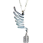 OOAK Susan Davison Sterling Silver Wing Necklace with Faceted Tourmaline Accent