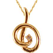 Vintage 14 Karat Gold Chain with Gold & Diamond Pendant