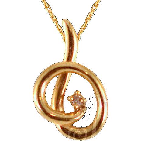 Vintage 14 Karat Gold Chain with Gold & Diamond Pendant