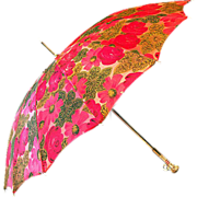 ca 1950's Springtime Parasol with Rose-Red and Olive Green Decorations
