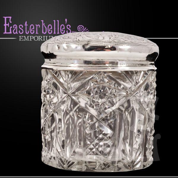 ca 1913 Sterling Silver Lidded Chester Hallmarked Cut Glass Dresser Jar