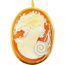 Vintage 14K Gold Gennaro Borriello Italian Goddess Diana Cameo  Pendant Brooch