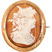 Antique Very Large Cameo in 14 Karat Gold Frame Brooch Pendant