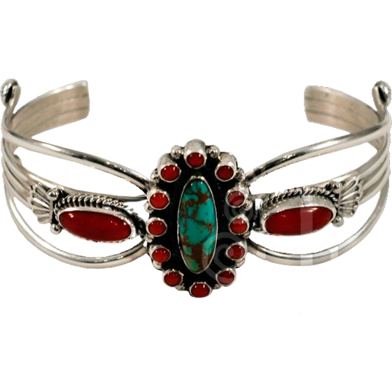 Classic Vintage Sterling Silver, Coral, and Turquoise Cuff Bracelet