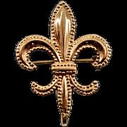 12K Rolled-Gold Vintage Fleur de Lis Watch Pin