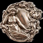 """Antique """"Sterling Top"""" Nouveau Brooch"""
