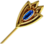 Graceful Art Nouveau Brass Stick Pin with Blue Paste Rhinestone