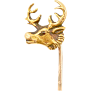 Vintage 14 Karat Gold Stag-Head Stick Pin