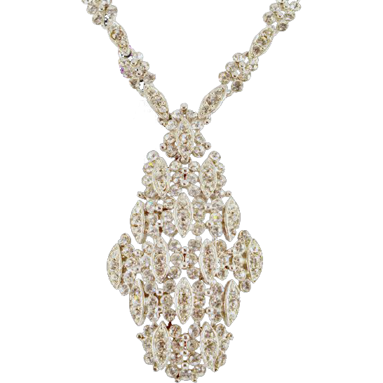ca 1960's Eisenberg Stunning Rhinestone Loaded Necklace