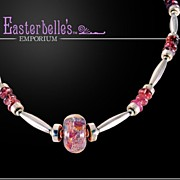 Pink Tourmaline, Art Glass, and Sterling Silver OOAK Davison Necklace
