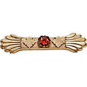Beautiful Victorian Brooch with 9k Gold Plate and Red Paste Rhinestone