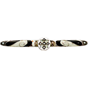 Antique Sterling and Brass Pearl and Enameling Pin