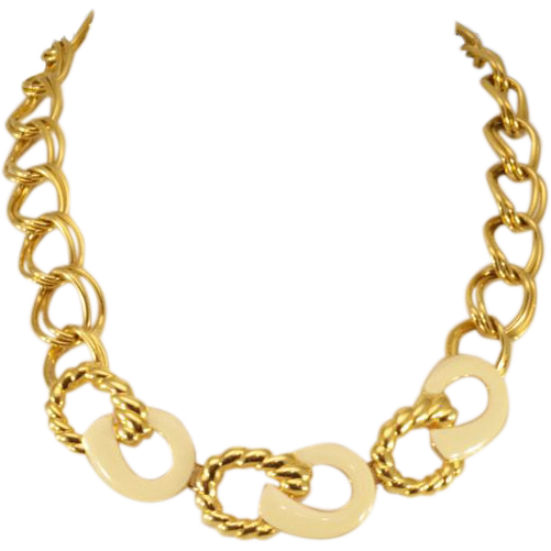 Bold and Brilliant Gold-Tone and Enamel Vintage Monet Necklace