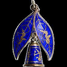 Gorgeous Blue Enamel Siam Sterling Pendant/Brooch - Unusual