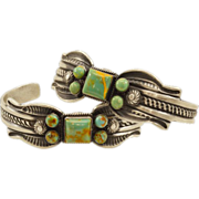Incredible Pair of Vintage Signed Sterling Navajo Cuffs With Ajax Turquoise