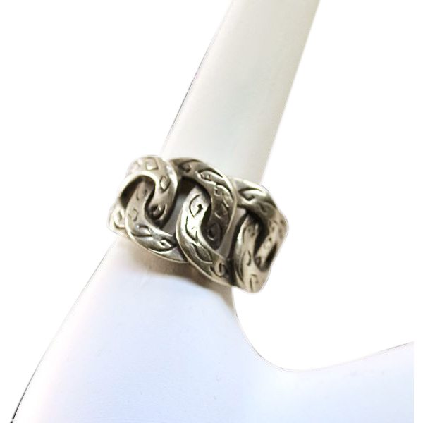 Vintage Stylized Curb Link Sterling Ring