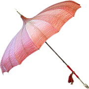ca. '30s '40s Salmon Colored Pagoda-Style Umbrella