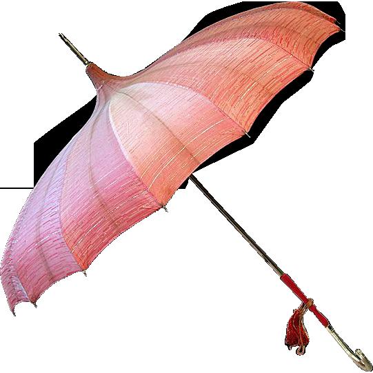 ca. '30s '40s Salmon Colored Pagoda-Style Umbrella