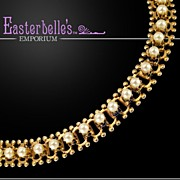 Classic Book Chain Faux-Pearl and Gold-Tone Choker Necklace