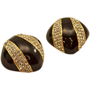 Dramatic Enamel and Rhinestones Vintage Ciner Earrings Beautiful