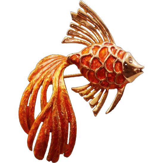 Rare and Beautiful Boucher Vintage Orange Enameled Fish Brooch - Bold