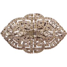 Dazzling Unsigned Boucher Patented Rhinestone Duette Brooch